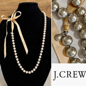 J. CREW Ribbon Tied Long Strand Pearl Necklace